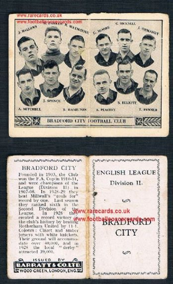 1934 Barratt English League Div 2 folder Bradford City